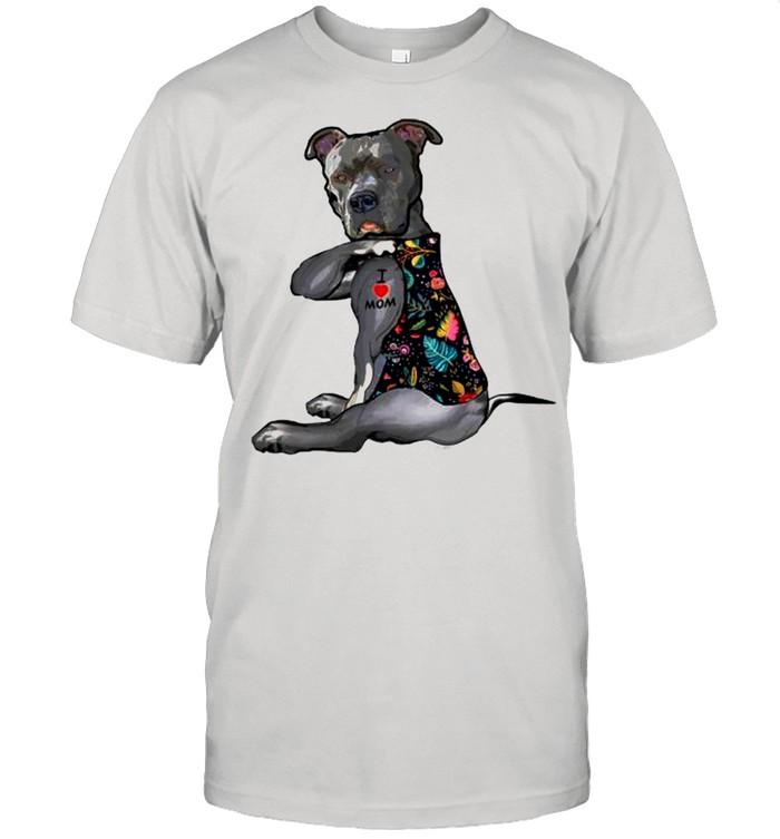 Pitbull Tattoos I Love Mom shirt Classic Men's T-shirt