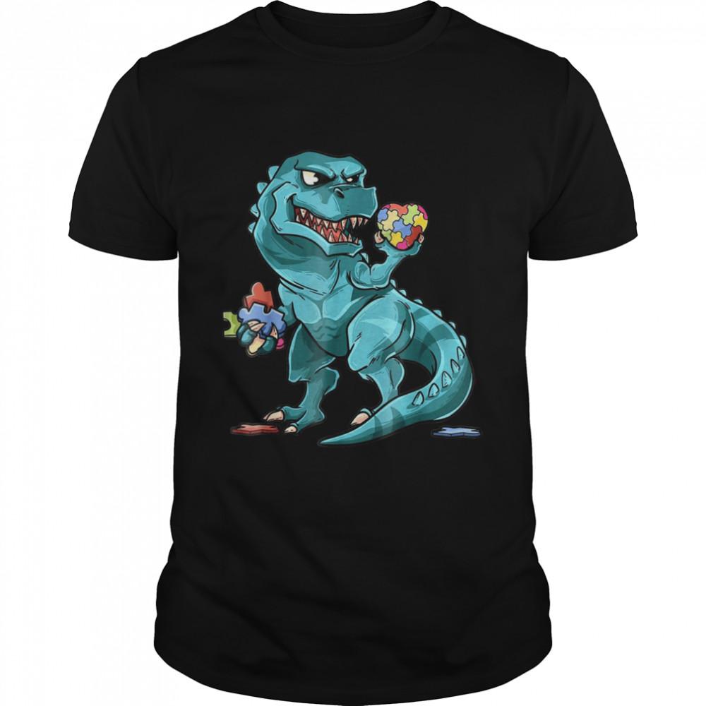 Autism Awareness Dinosaur  Heart Puzzle Pieces shirt Classic Men's T-shirt