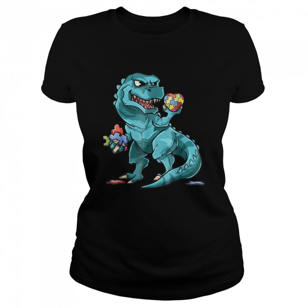 Autism Awareness Dinosaur  Heart Puzzle Pieces shirt Classic Women's T-shirt