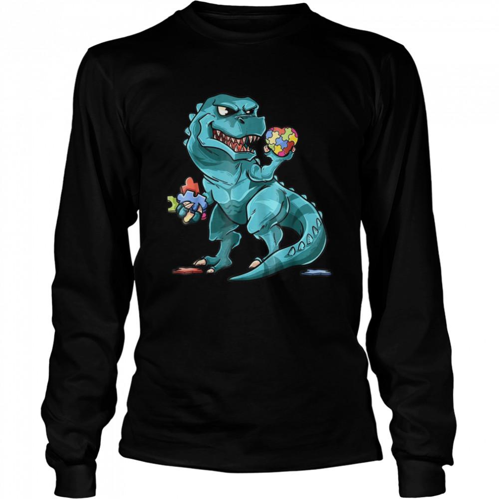 Autism Awareness Dinosaur  Heart Puzzle Pieces shirt Long Sleeved T-shirt