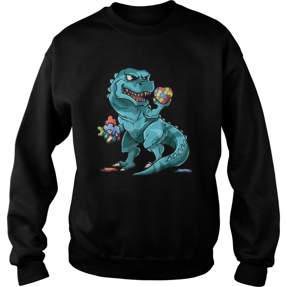 Autism Awareness Dinosaur  Heart Puzzle Pieces shirt Unisex Sweatshirt