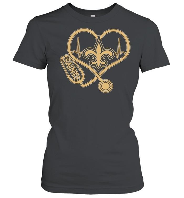 New Orleans Saints Football Stethoscope Heart shirt Classic Women's T-shirt