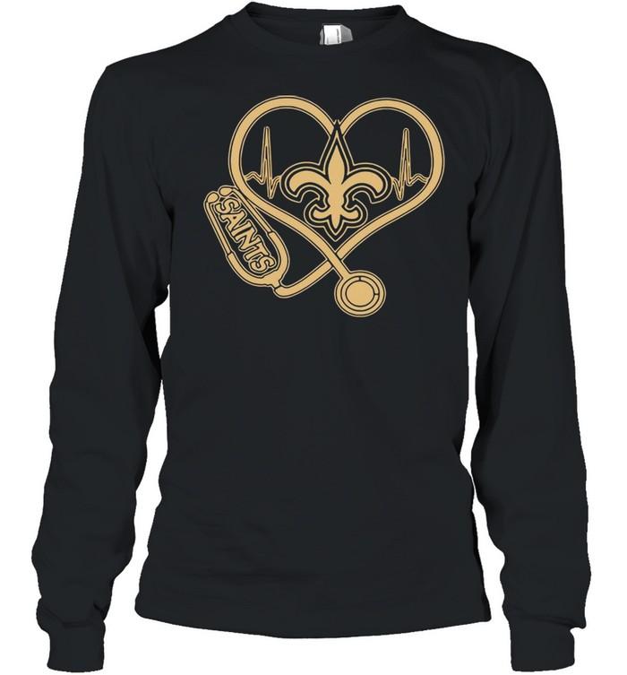New Orleans Saints Football Stethoscope Heart shirt Long Sleeved T-shirt