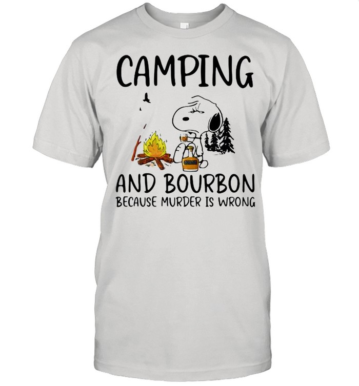 Camping And Bourbon Because Murder Is Wrong Snoopy  Classic Men's T-shirt