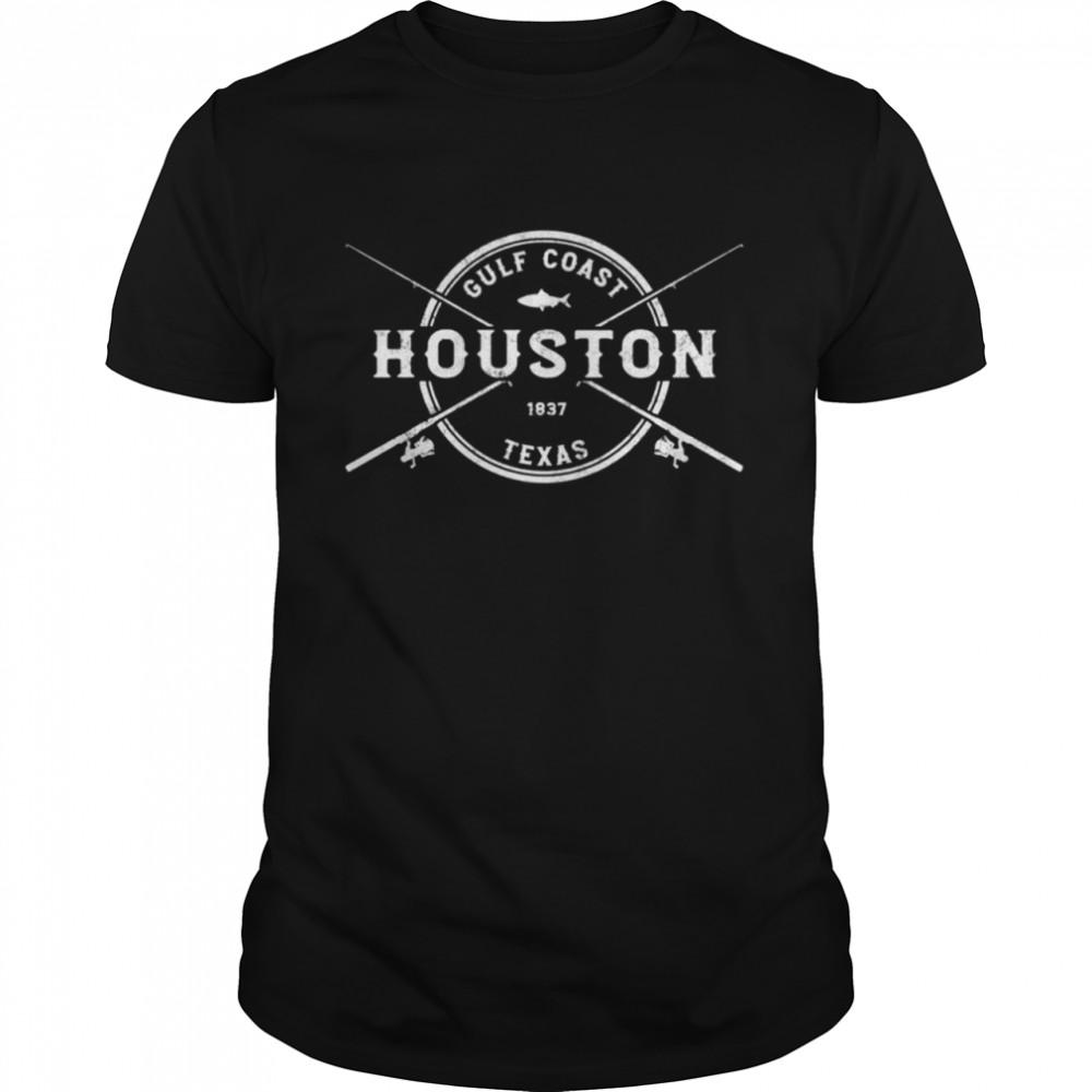 Houston TX Vintage Crossed Fishing Rods shirt Classic Men's T-shirt
