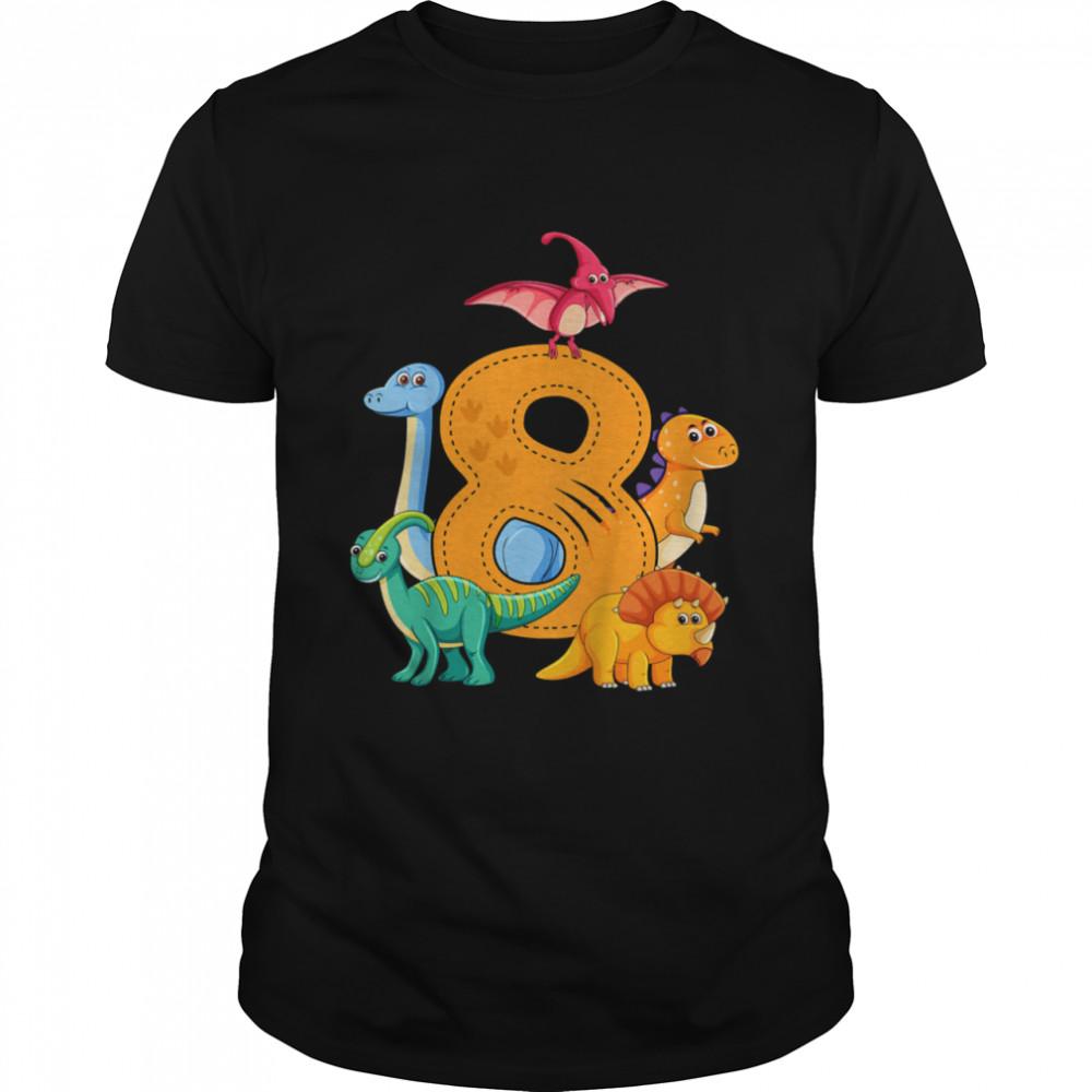 Kids 8 Eighth Birthday Dinosaur Dino Saurus Anniversary shirt Classic Men's T-shirt