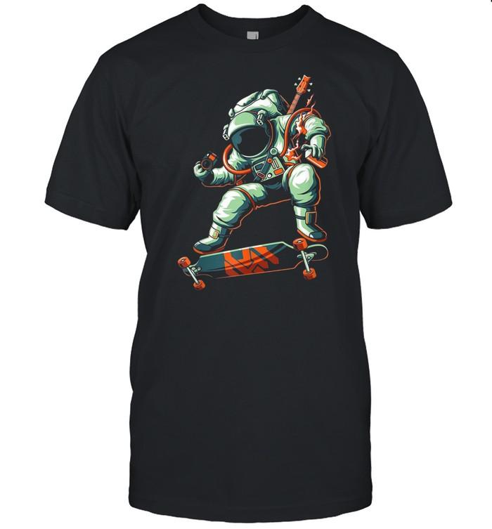 Moon Astronaut Stars Space Skate Guitar Explorer Photo Shirt