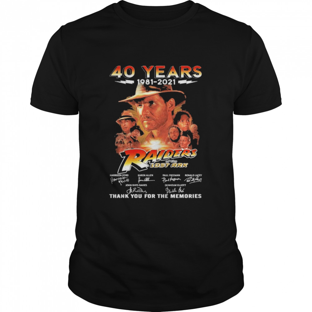 40 Years 1981 2021 Raiders Of The Lost Ark Signatures Thank You For The Memories shirt Classic Men's T-shirt