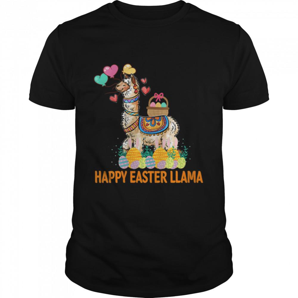 Llama Bunny Rabbit Eggs Hunting Colorful Egg Happy Easter  Classic Men's T-shirt
