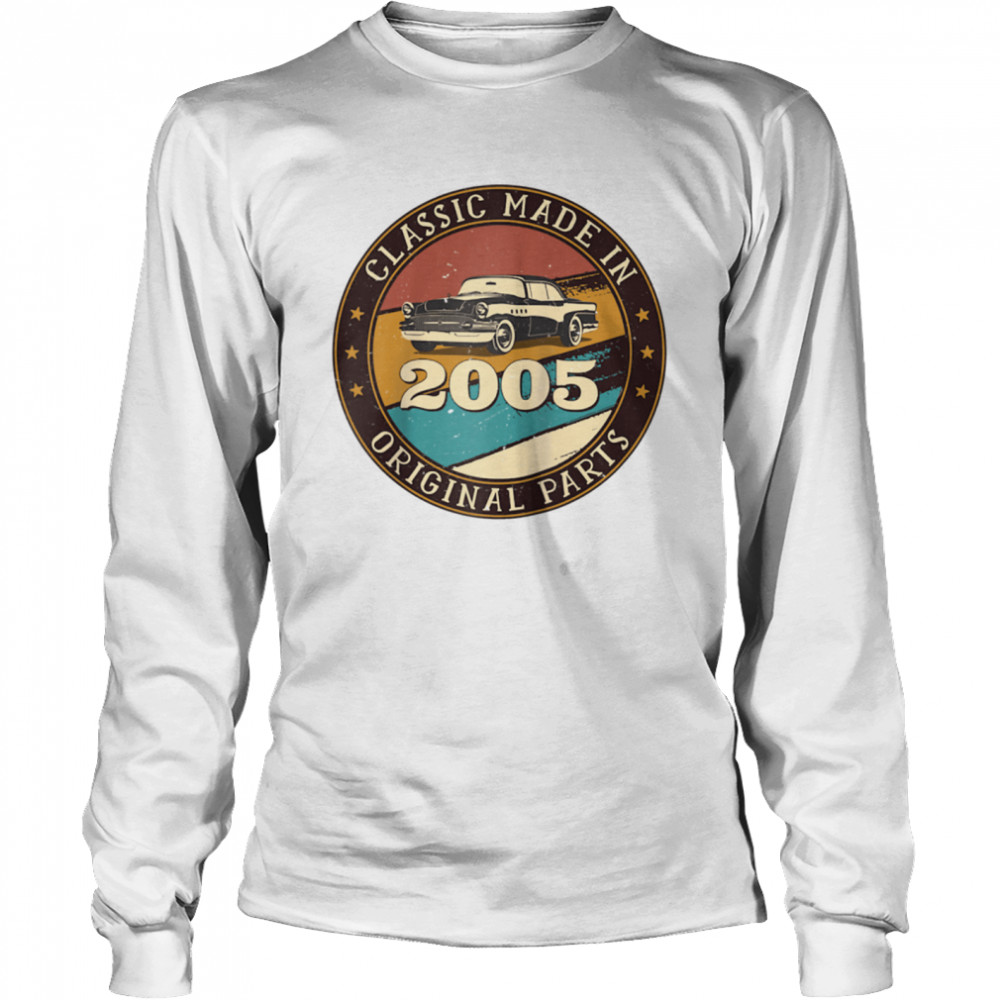 16 Years Old Classic Retro Car Made In 2005 16th Birthday  Long Sleeved T-shirt