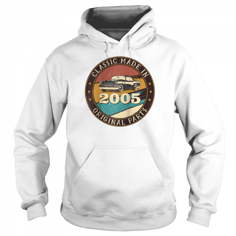 16 Years Old Classic Retro Car Made In 2005 16th Birthday  Unisex Hoodie