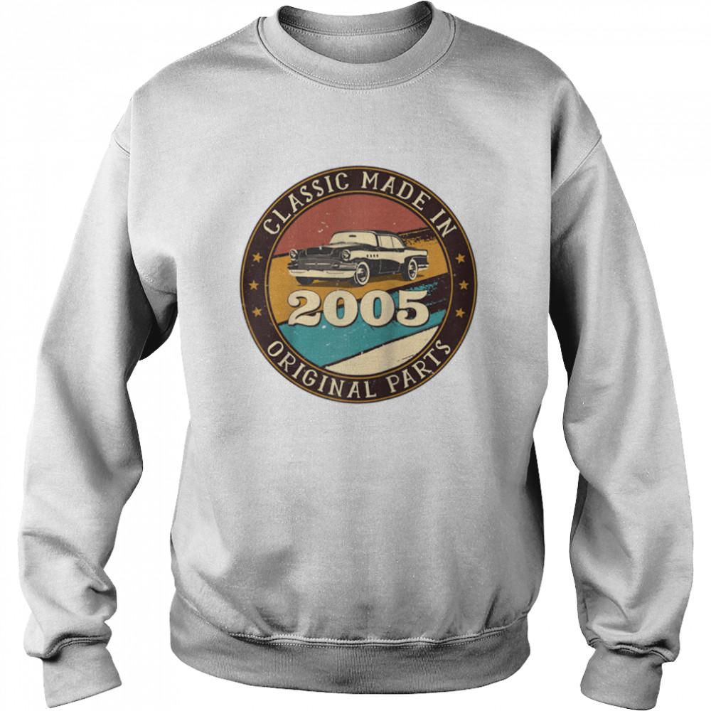 16 Years Old Classic Retro Car Made In 2005 16th Birthday  Unisex Sweatshirt