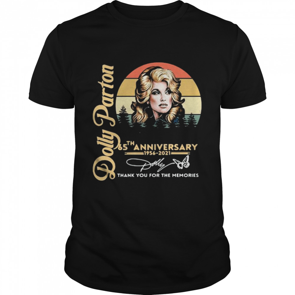 Dolly Parton 65th Anniversary 1956 2021 Signature Thank You For The Memories Retro Vintage shirt Classic Men's T-shirt