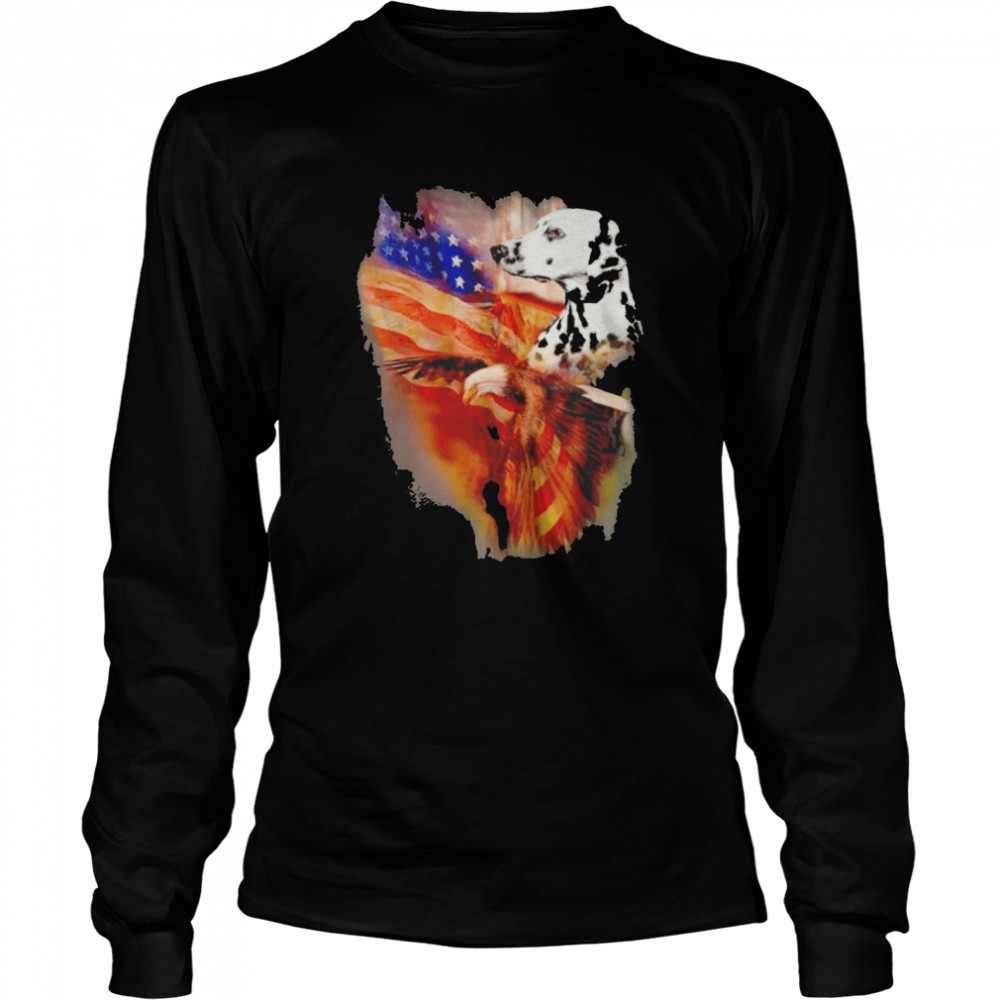 Eagle Dalmatian American Wings Happy 4th Of July  Long Sleeved T-shirt