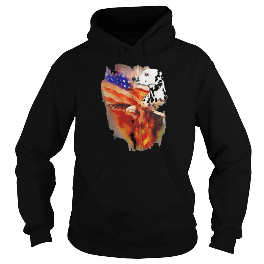 Eagle Dalmatian American Wings Happy 4th Of July  Unisex Hoodie