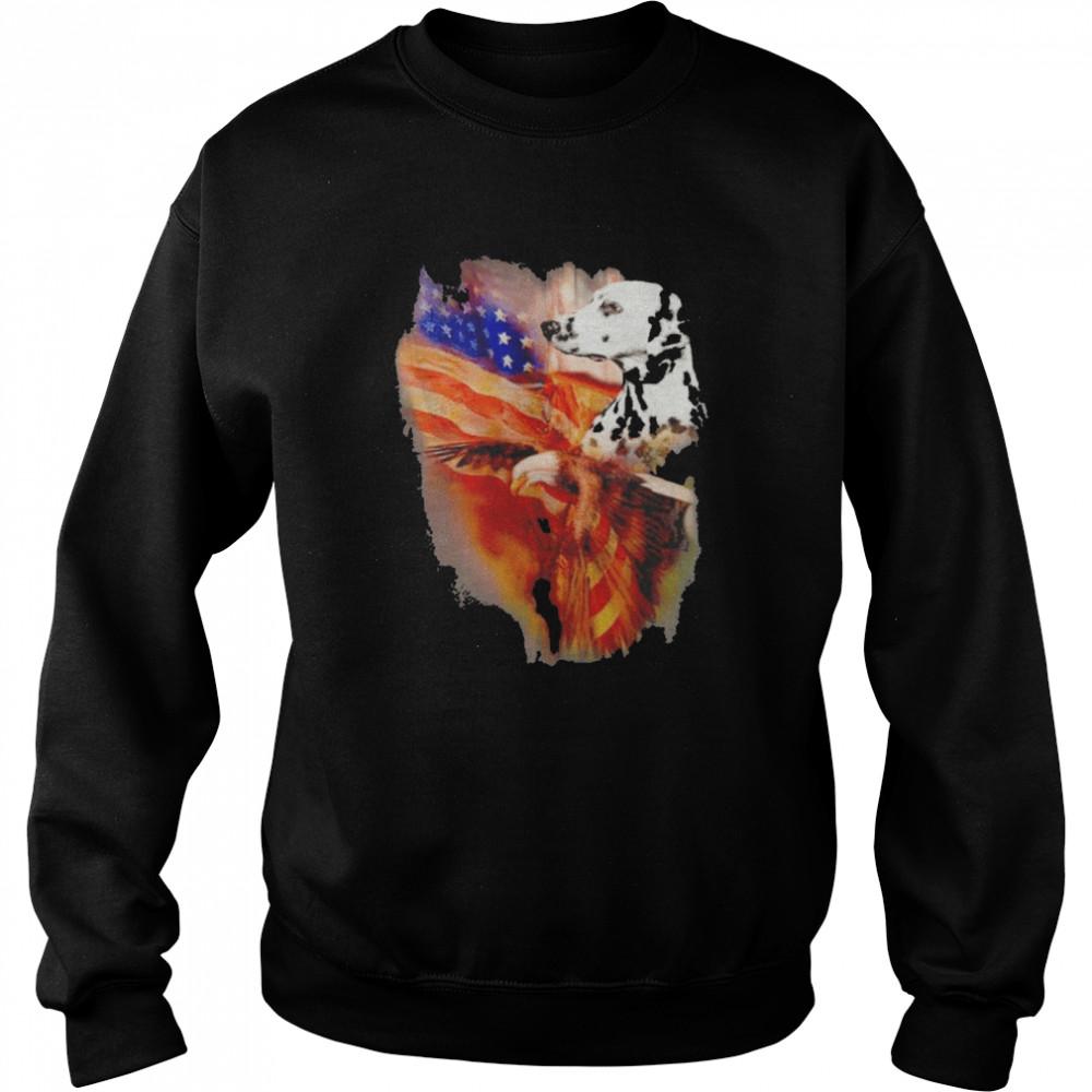 Eagle Dalmatian American Wings Happy 4th Of July  Unisex Sweatshirt