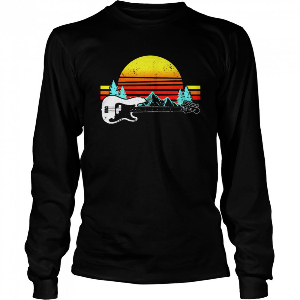 Vintage Retro Sunshine Bass Guitar shirt Long Sleeved T-shirt
