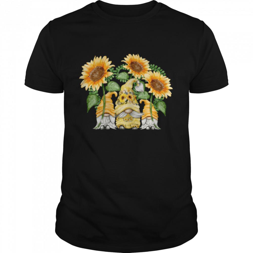Floral Sunflower Gnome For Hippies & Spring Gardener Gnomie  Classic Men's T-shirt