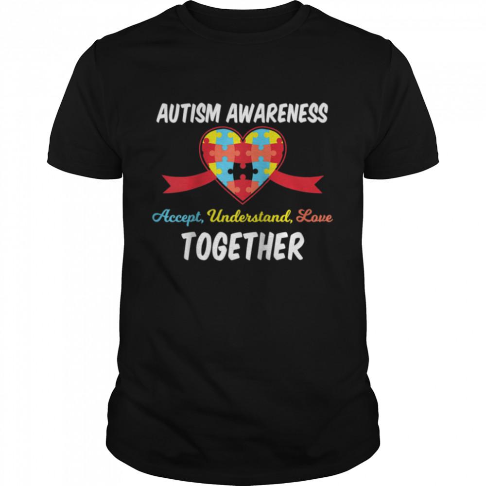 Heart Autism Awareness Puzzle pieces symbol April month shirt Classic Men's T-shirt