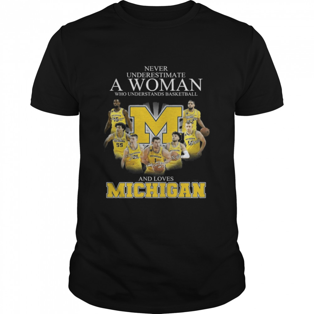 Michigan Wolverines Teams Basketball Never Underestimate A Woman And Love Michigan Signatures shirt Classic Men's T-shirt