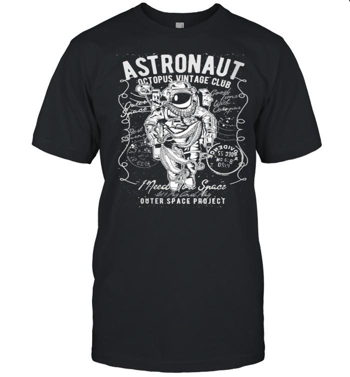 Astronaut Octopus Outer Space Science Fiction  Classic Men's T-shirt
