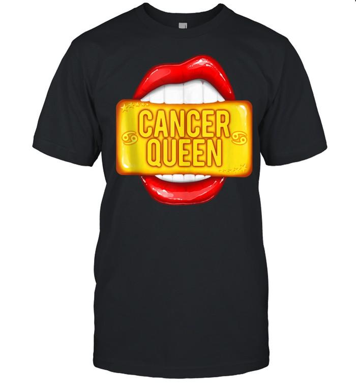Big Cancer Queen Red Lips Zodiac Cancer  Classic Men's T-shirt