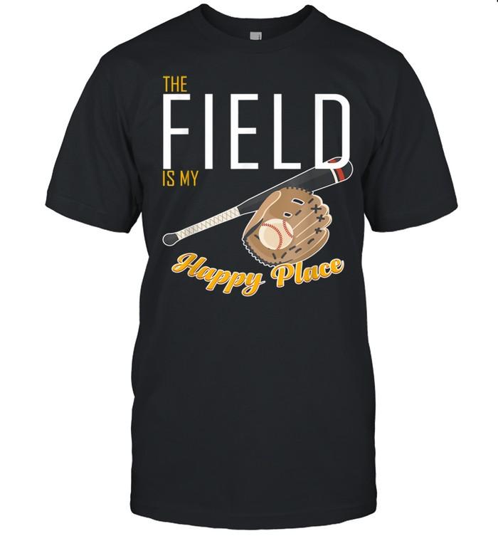 Field Is My Place T Ball Bat Glove Baseball Player shirt Classic Men's T-shirt