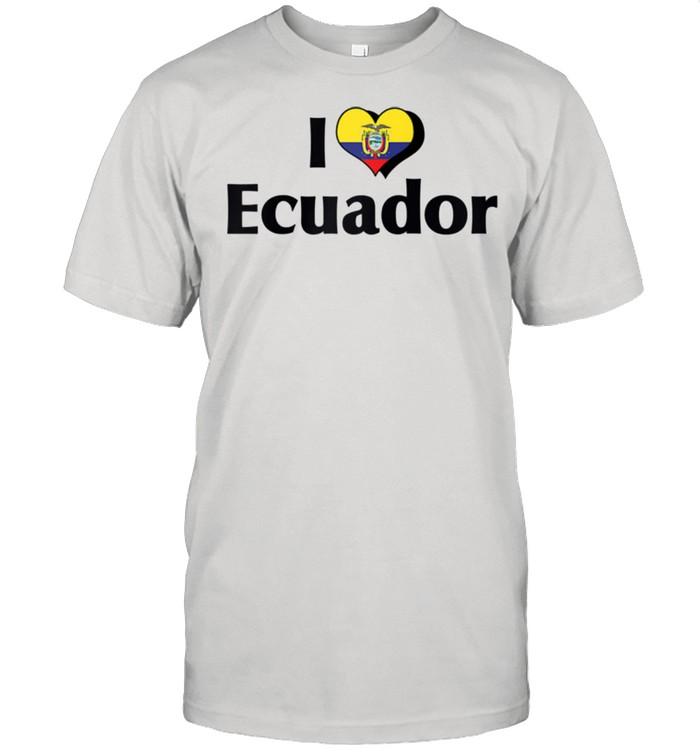 I Love Red Heart Flag of Ecuador  Classic Men's T-shirt