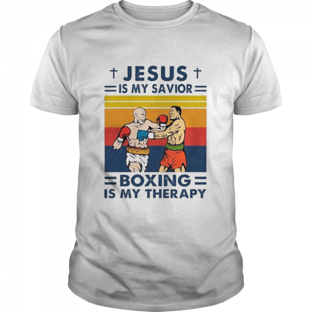 Jesus Is My Savior Boxing Is My Therapy Vintage shirt Classic Men's T-shirt