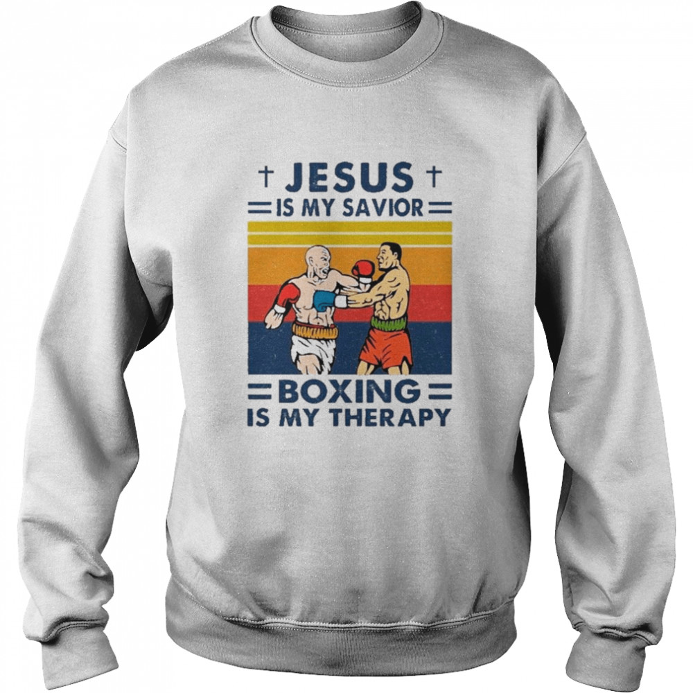 Jesus Is My Savior Boxing Is My Therapy Vintage shirt Unisex Sweatshirt