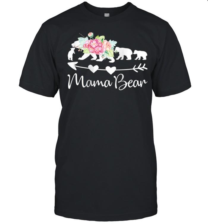 Pink Watercolor Roses Floral Mama Bear and Three Cubs shirt Classic Men's T-shirt