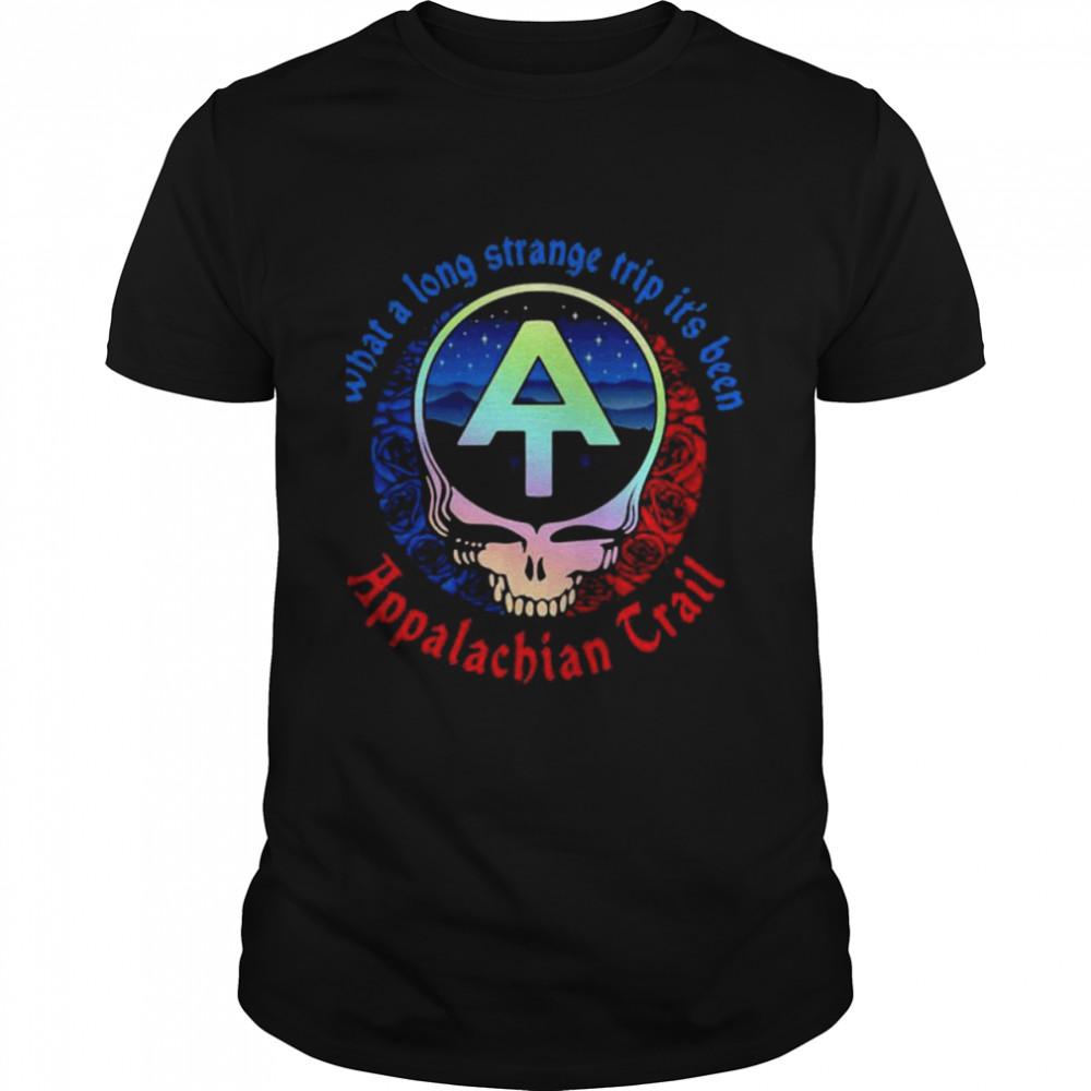 What A Long Strange Trip It's Been Appalachian Trail Grateful Dead Skull Rose  Classic Men's T-shirt