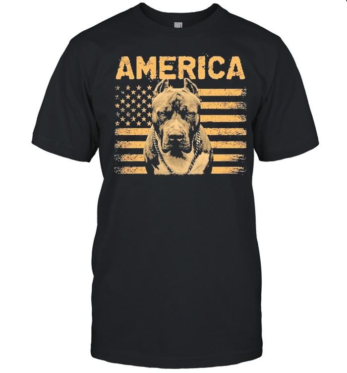 Pitbull American flag shirt Classic Men's T-shirt