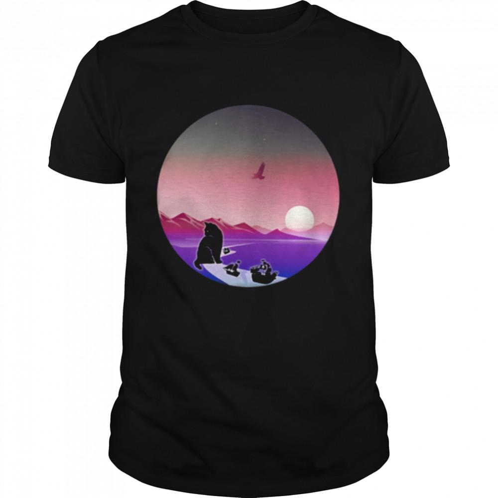 Cat Blocking Suez Canal Pirate Ships Boats Kitty Meme Circle shirt Classic Men's T-shirt