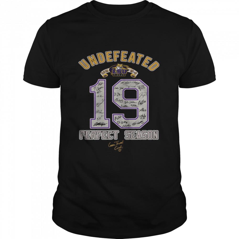 LSU Undefeated 2019 19 perfect season signatures shirt Classic Men's T-shirt