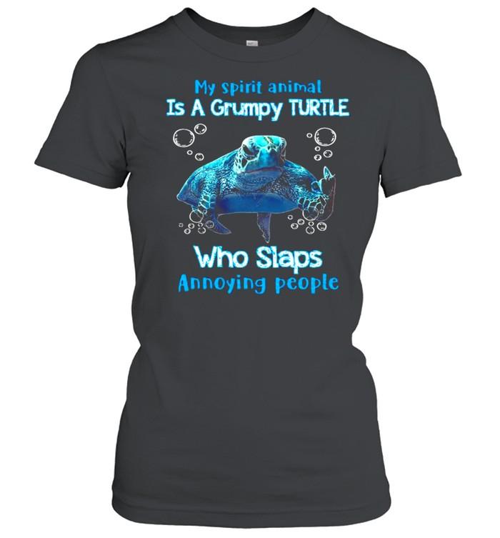 My Spirit Animal Is A Grumpy Turtle Who Slaps Annoying People  Classic Women's T-shirt