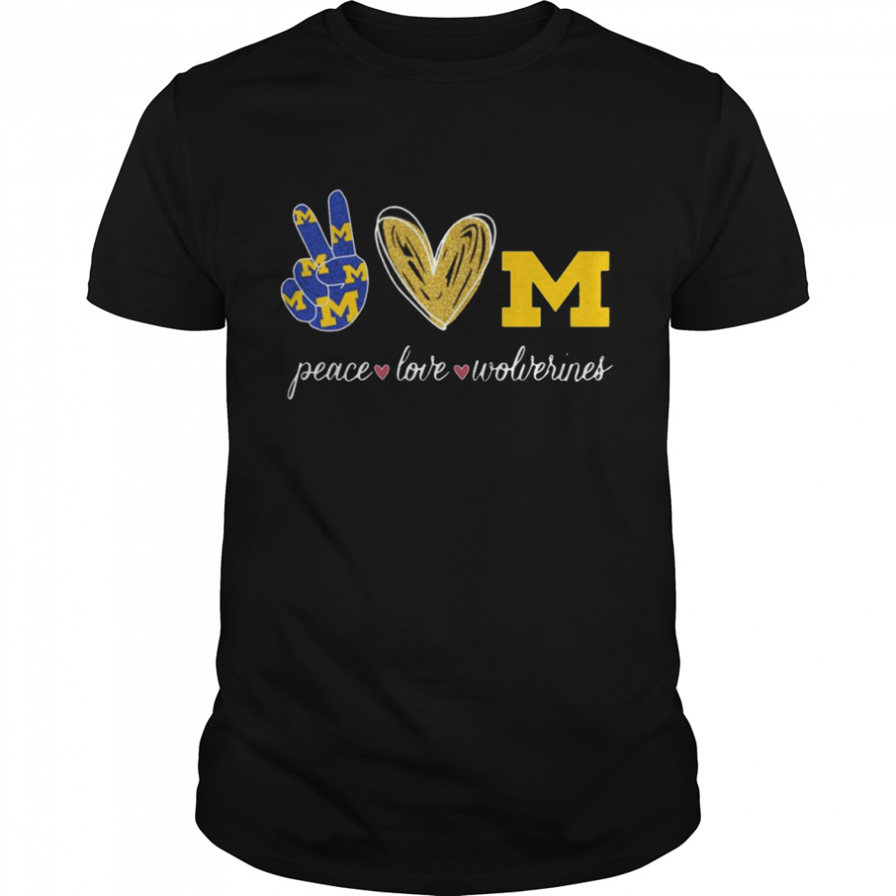 Peace Love Michigan Wolverines  Classic Men's T-shirt