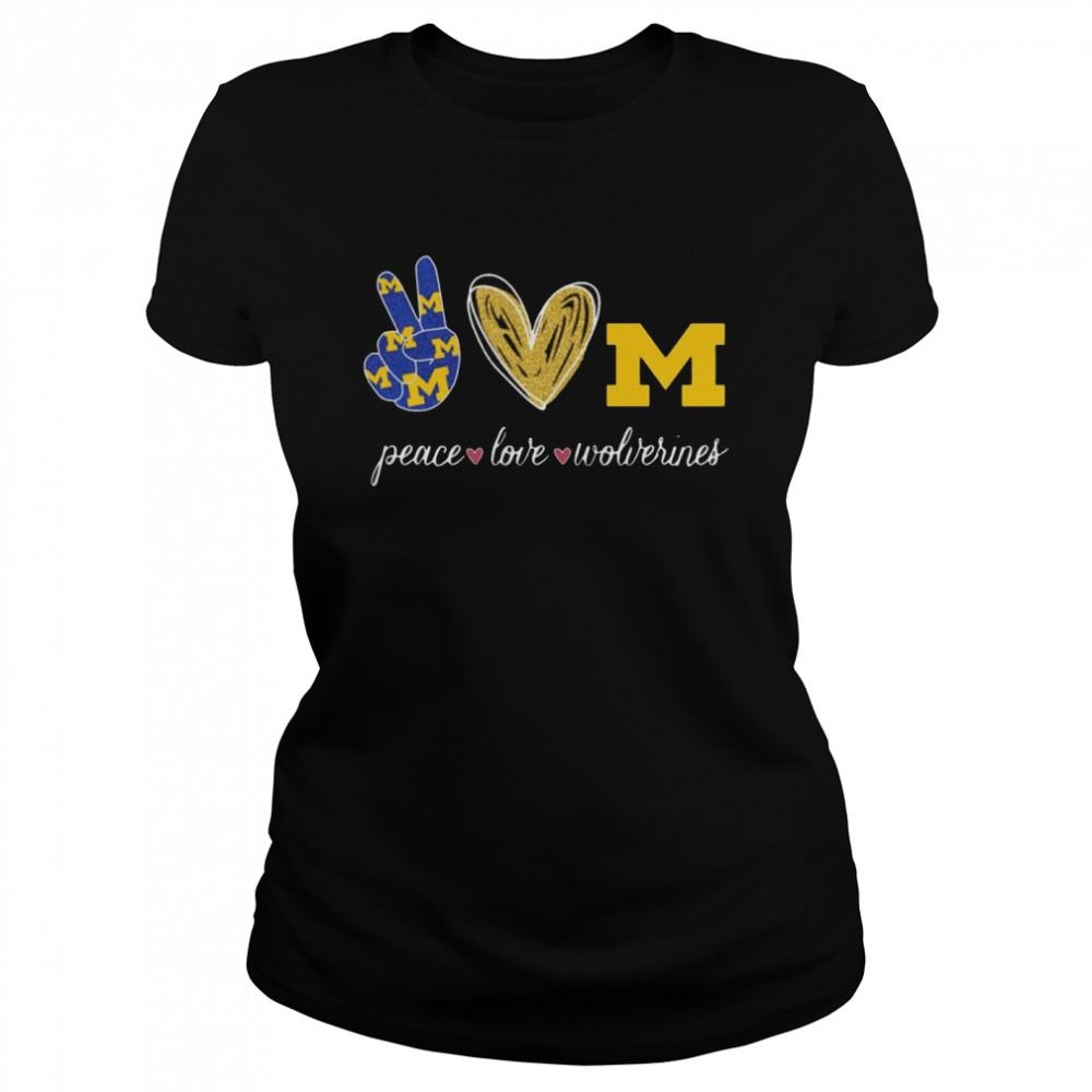 Peace Love Michigan Wolverines  Classic Women's T-shirt
