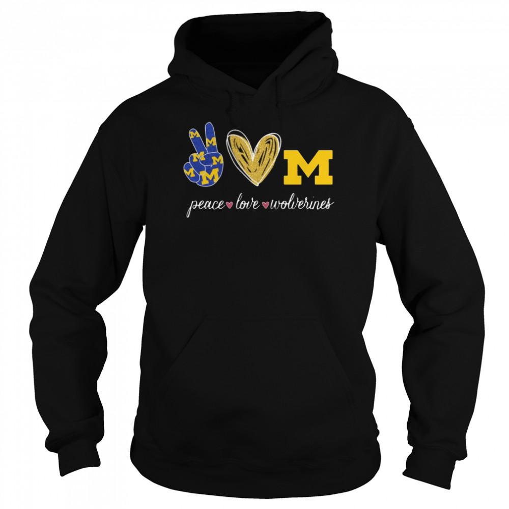 Peace Love Michigan Wolverines  Unisex Hoodie