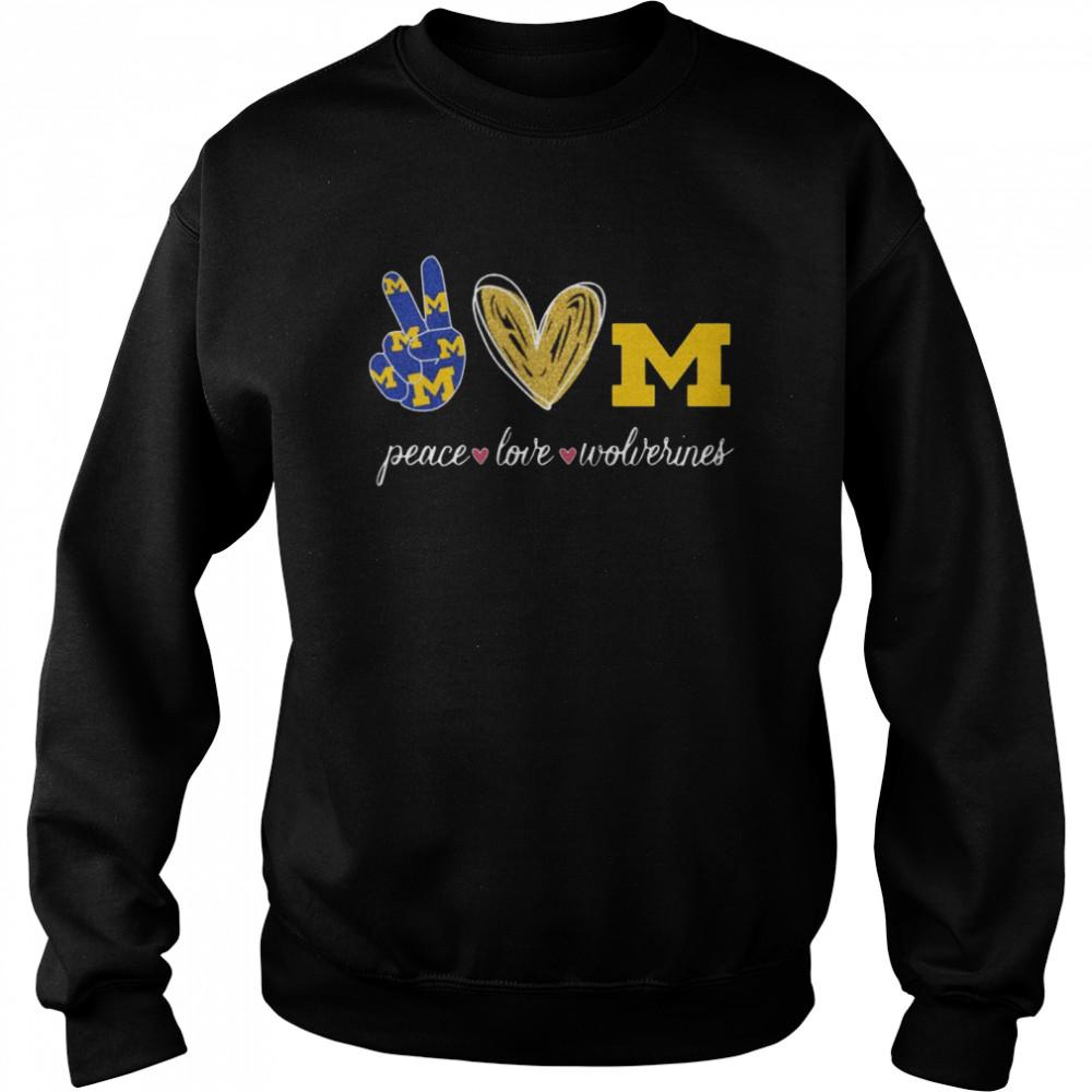 Peace Love Michigan Wolverines  Unisex Sweatshirt