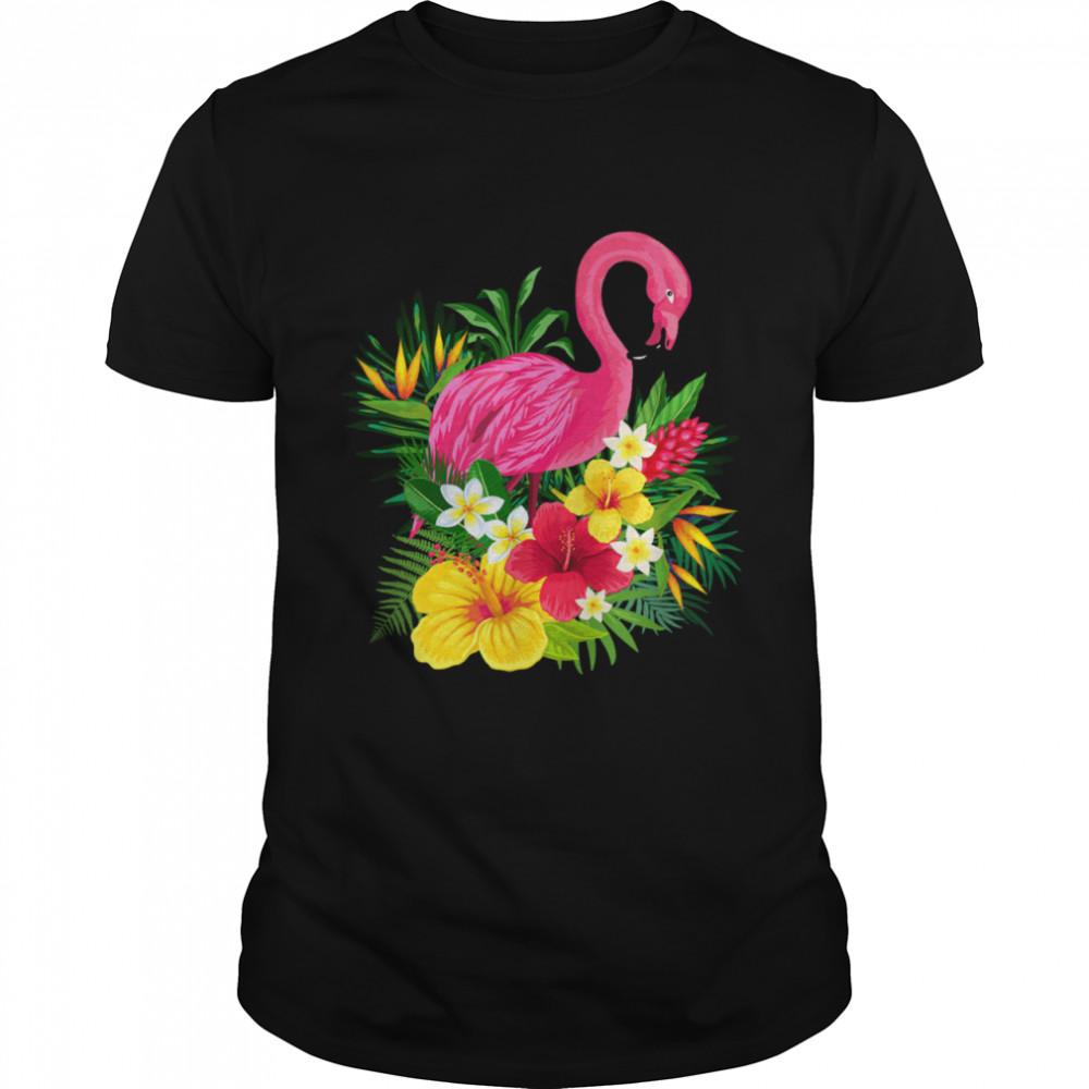 Pink Flamingo Tropical Flowers Tropical Ferns shirt Classic Men's T-shirt