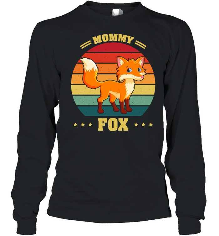 Vintage Retro Mama Fox Mother's Day  Long Sleeved T-shirt