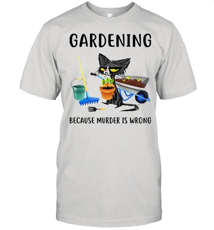 Cat gardening because murder is wrong shirt Classic Men's T-shirt
