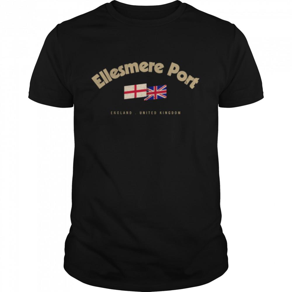 Ellesmere Port City Name Vintage UK Flag British Flag  Classic Men's T-shirt