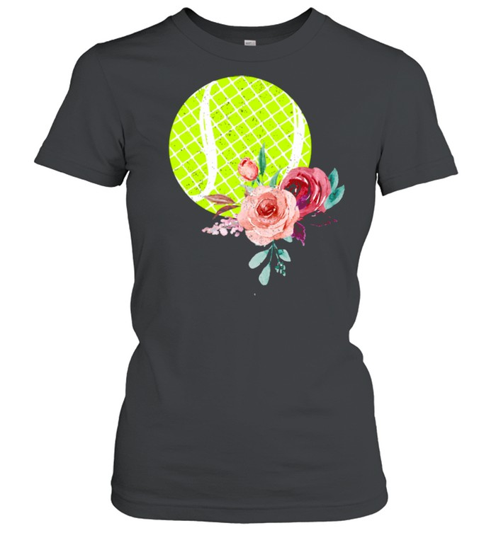 Tennis Ball with Floraln Girls Vintage  Classic Women's T-shirt