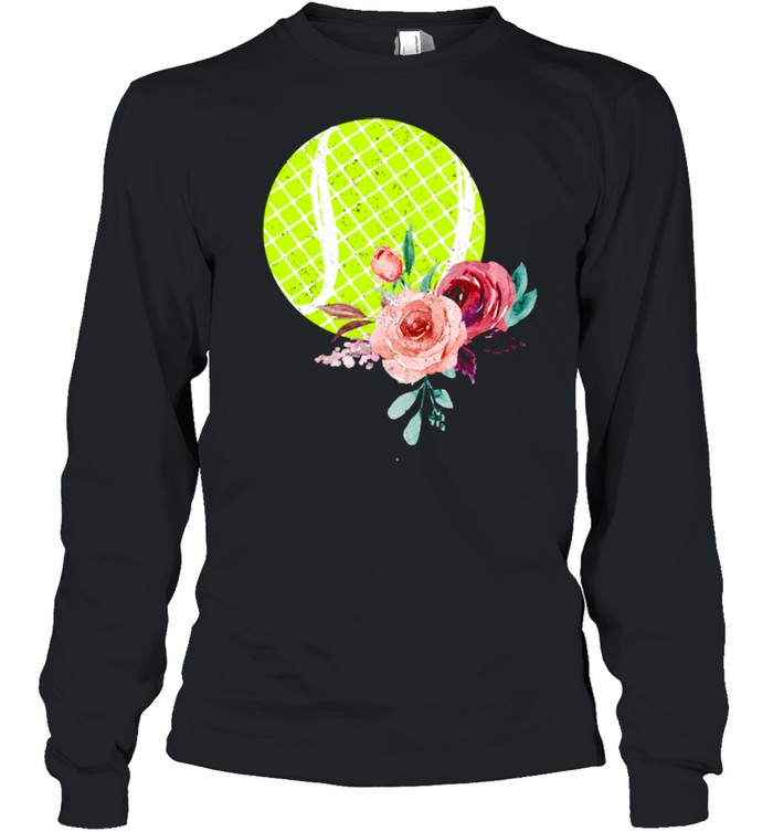 Tennis Ball with Floraln Girls Vintage  Long Sleeved T-shirt