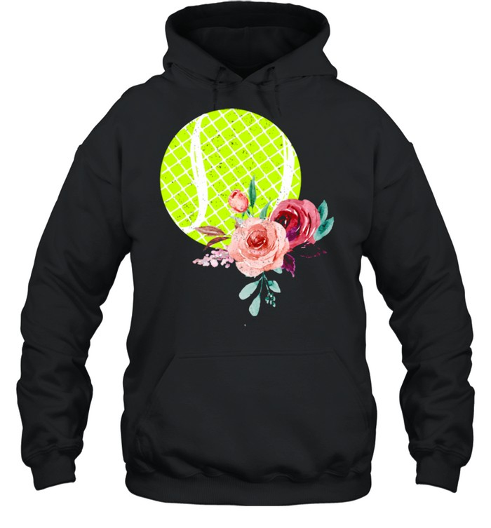 Tennis Ball with Floraln Girls Vintage  Unisex Hoodie