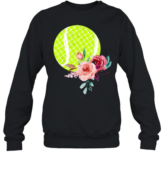 Tennis Ball with Floraln Girls Vintage  Unisex Sweatshirt