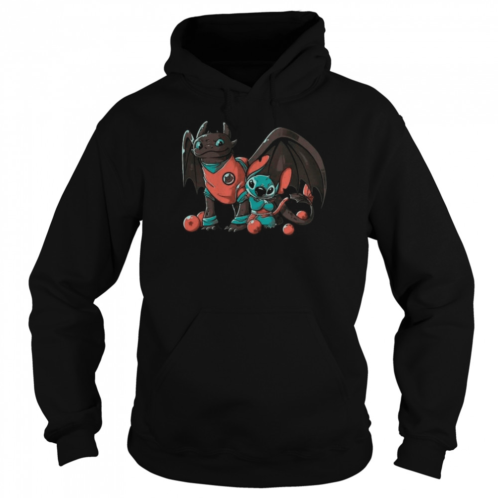Dragon Ball With Baby Toothless Dragon And Baby Stitch shirt Unisex Hoodie