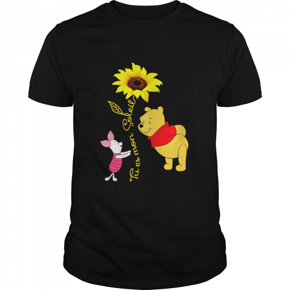 Tu Es Mon Soleil Pooh And Piglet Sunflower  Classic Men's T-shirt
